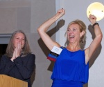 Board member Kymber Messersmith celebrates onstage at the Hope Awards